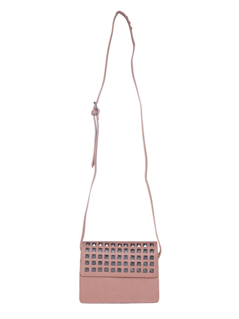 Nude Studded Crossbody Bag