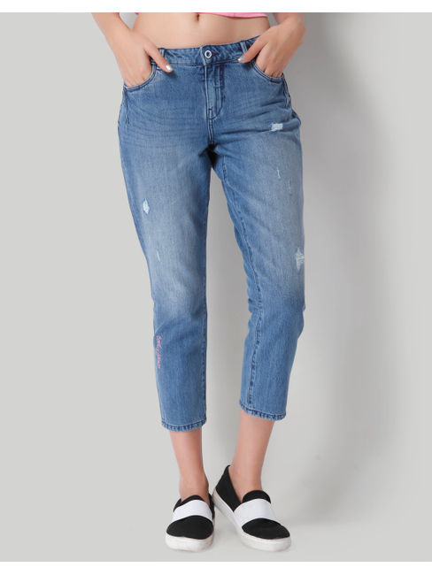 Blue Distressed Comfort Fit Mid Waist Ankle Length Denim