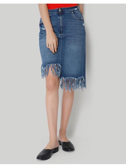 Blue Denim Fringe Knee Length Casual Skirt