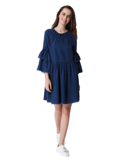 Dark Blue Denim Tiered Sleeves Shift Dress