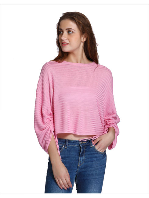 Pink Striped Relaxed Fit Pullover