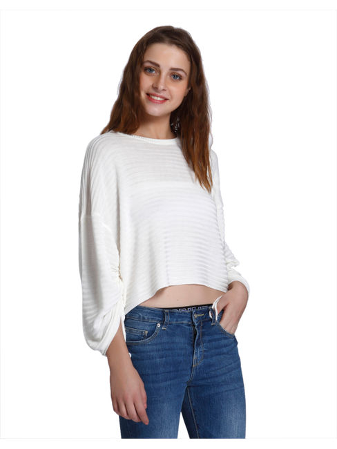 White Striped Relaxed Fit Pullover