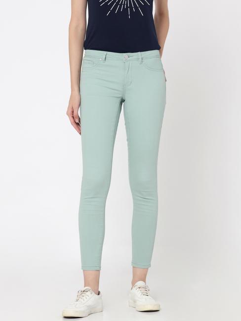 Green Mid Rise Slim Fit Pants
