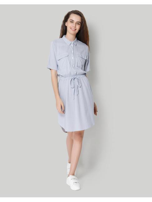 White Striped Draw String Shirt Dress