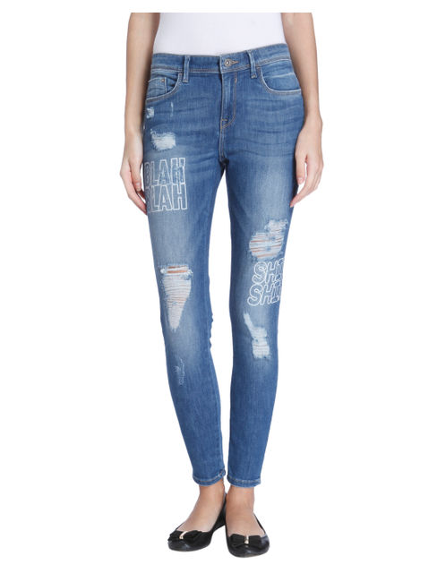 Blue Graphic Print Skinny Jeans