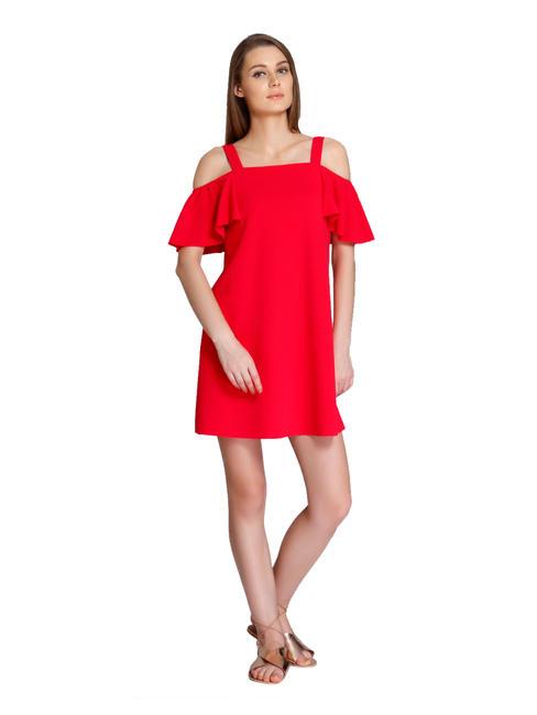 Pink Cold Shoulder Mini Dress