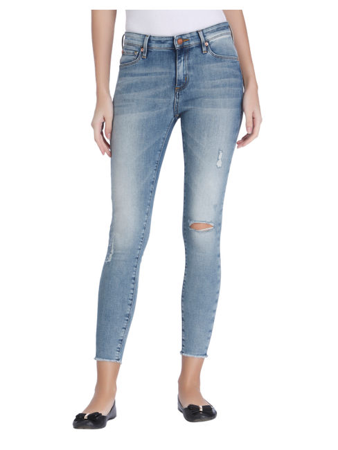 Blue Ripped Ankle Length Skinny Jeans