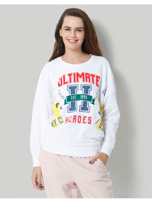 White Text Print Oversized Pullover