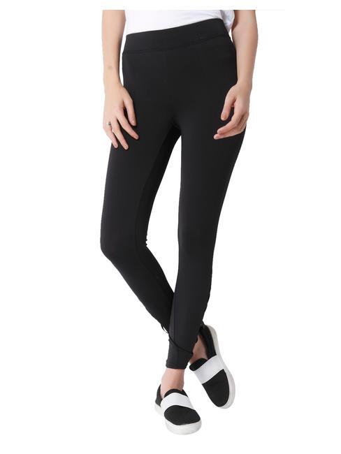 Black Mesh Detail Skinny Fit Leggings