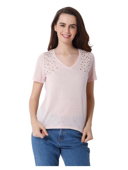 Pink Studded V-Neck Top