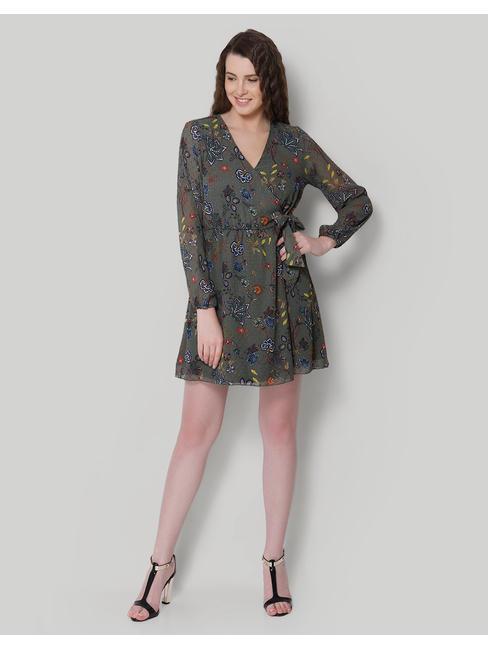 Grey Floral Print Wrap Mini Dress