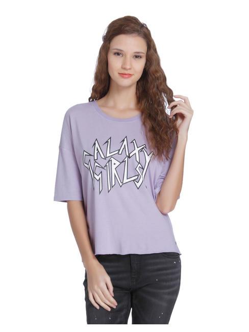 Purple Slogan Print Slit Back Oversized Top