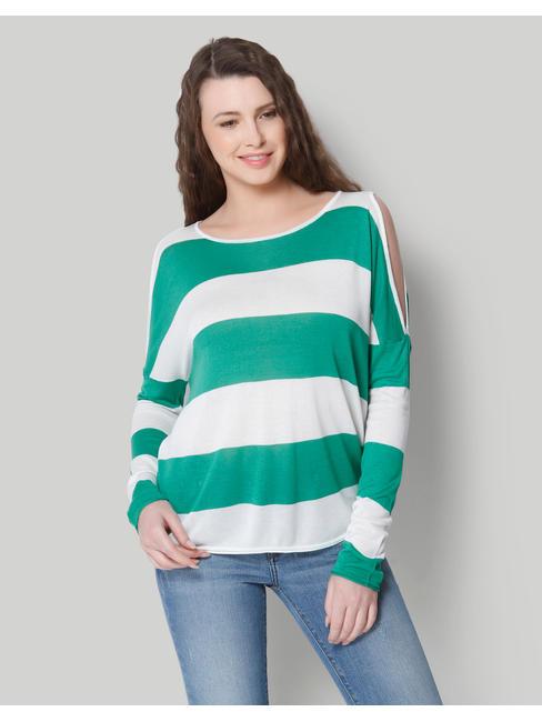 White & Green Striped Cold Shoulder Pullover