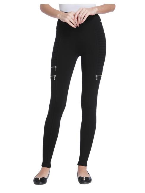 Black Zip Detail Ribbed Leggings