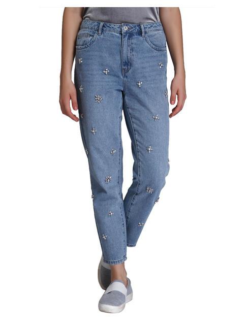 Light Blue Stone Studded High Waist Boyfriend Jeans