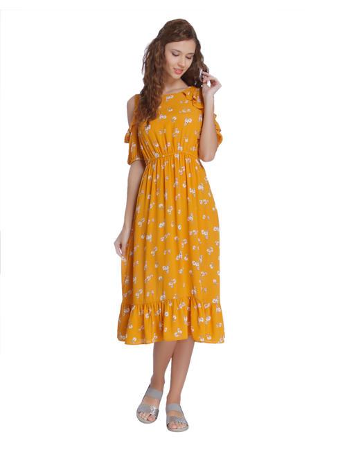 Yellow Floral Print Cold Shoulder Midi Dress
