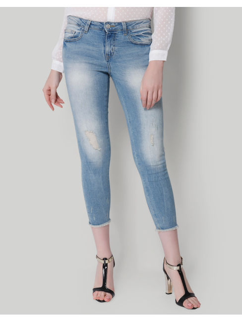 Blue Faded Mid Rise Skinny Fit Jeans