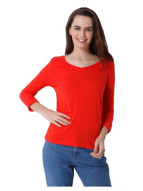 Bright Red V-Neck Top