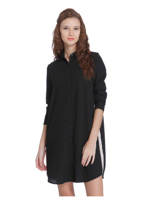 Black Colour Blocked Shirt Dress