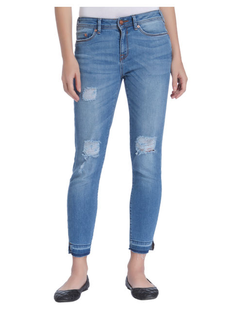 Blue Ripped Super Low Rise Skinny Fit Jeans