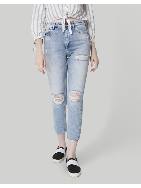 Light Blue High Waist Distressed Boyfriend Jeans