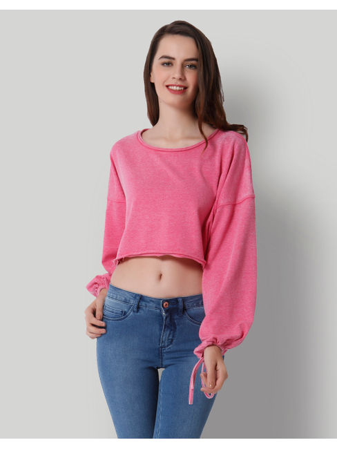 Pink Tie Sleeves Cropped Sweatshirt
