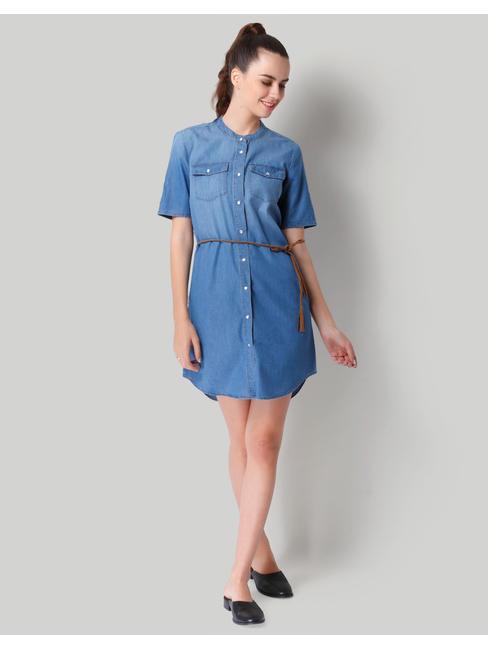 Blue Denim Mandarin Collar Shirt Dress