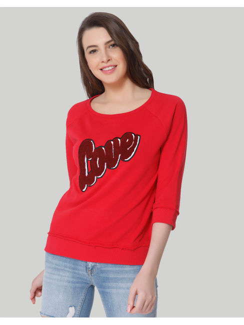 Red LOVE Print Sweatshirt
