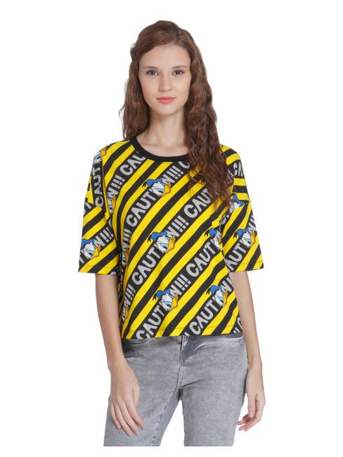 X Donald Black & Yellow Striped Donald Duck Print T-Shirt