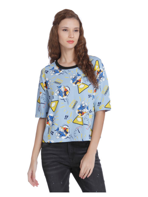 X Donald Blue Donald Duck Print T-Shirt