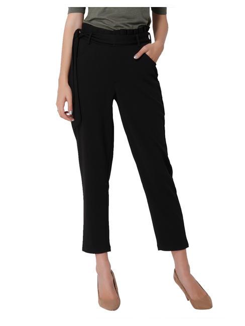 Black Tie Waist Mid Rise Ankle Length Pants