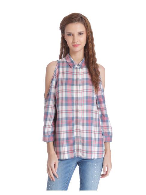 Beige & Pink Cold Shoulder Check Shirt