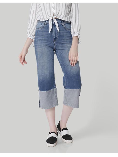Blue High Waisted Denim Culottes