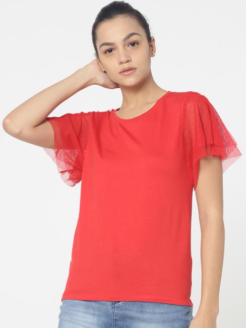 Red Mesh Sleeves Top