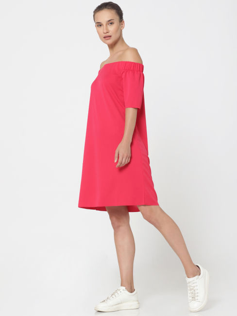 Pink Off Shoulder Shift Dress
