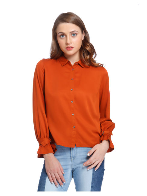 Rust Buckled Sleeves Shirt