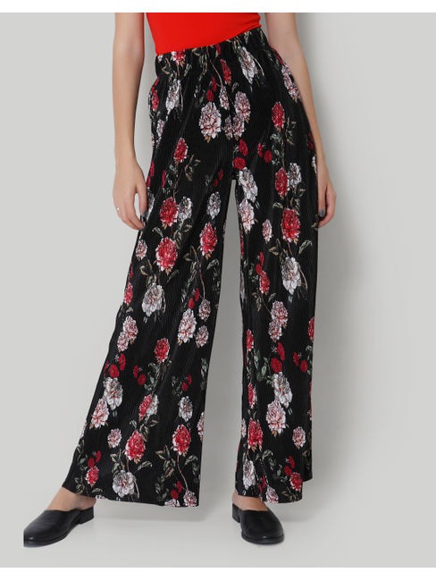 Wide Legged Black Floral Pants
