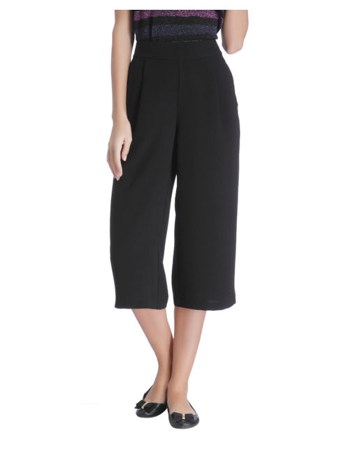 Black Mid Rise Culottes Pants