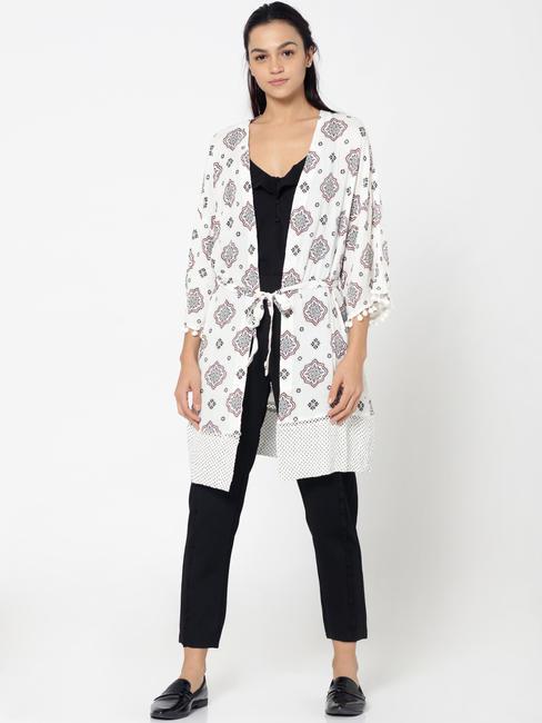 White Printed Kimono Style Long Shrug