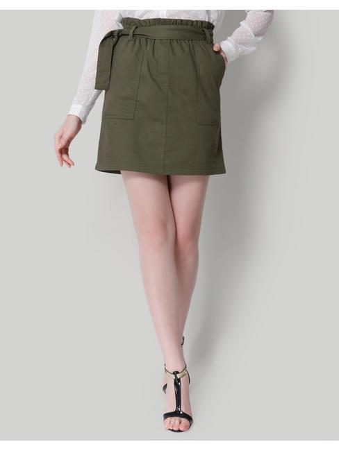 Olive Green Paperbag Waist Mini Skirt