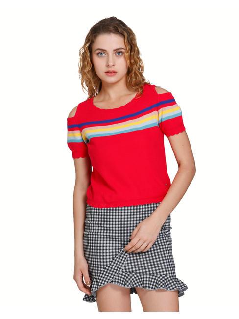 Red Striped Cold Shoulder Pullover