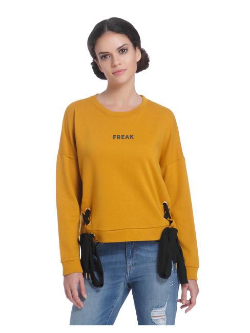 Mustard Eyelet Detail Sweatshirt