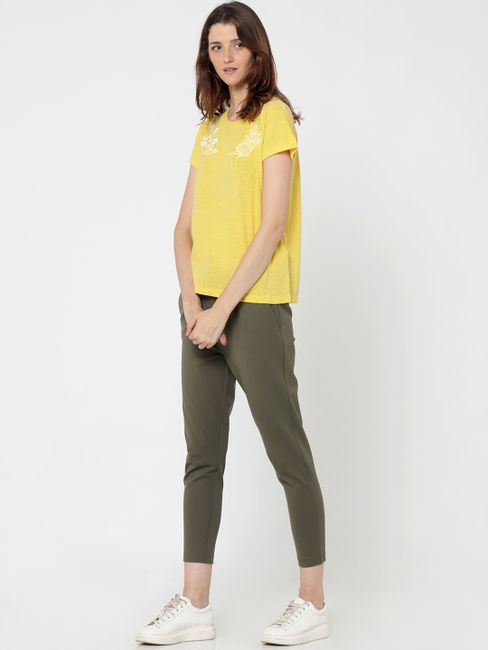 Yellow Embroidered T-Shirt