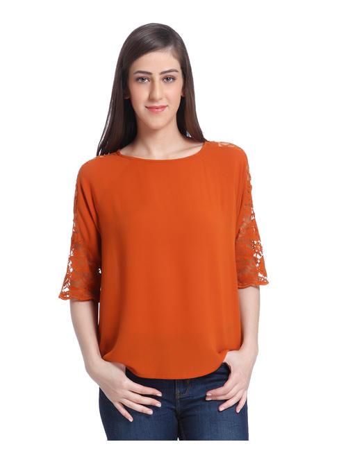Orange Mesh Sleeves Top