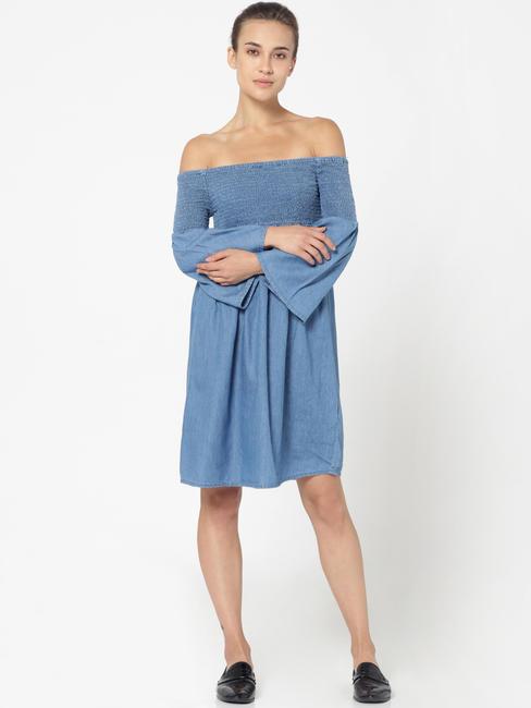 Blue Off Shoulder Smock Detail Shift Denim Dress