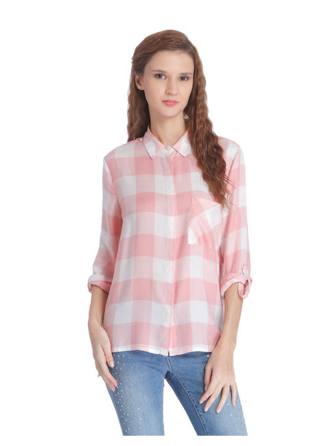 Pink Check Slogan Print Shirt