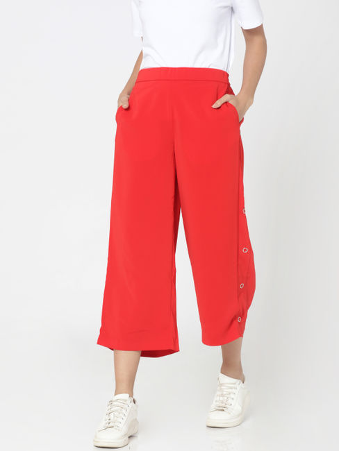 Bright Red High Waist Button Detail Culottes