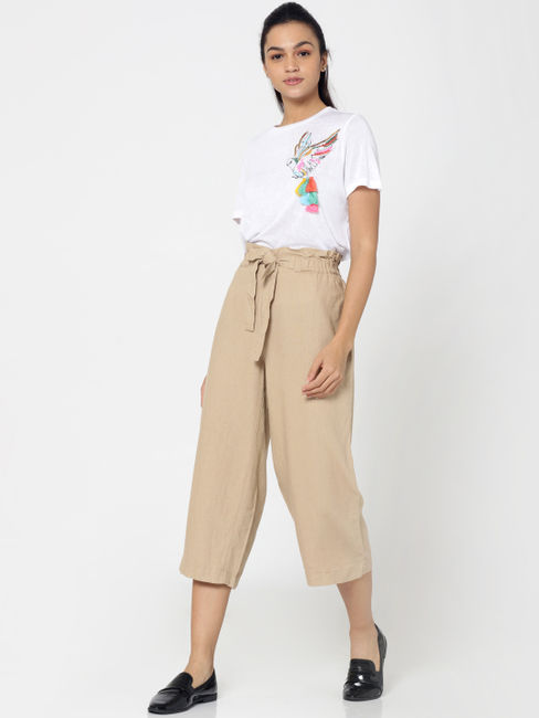 Beige Paperbag Waist Cropped Linen Pants