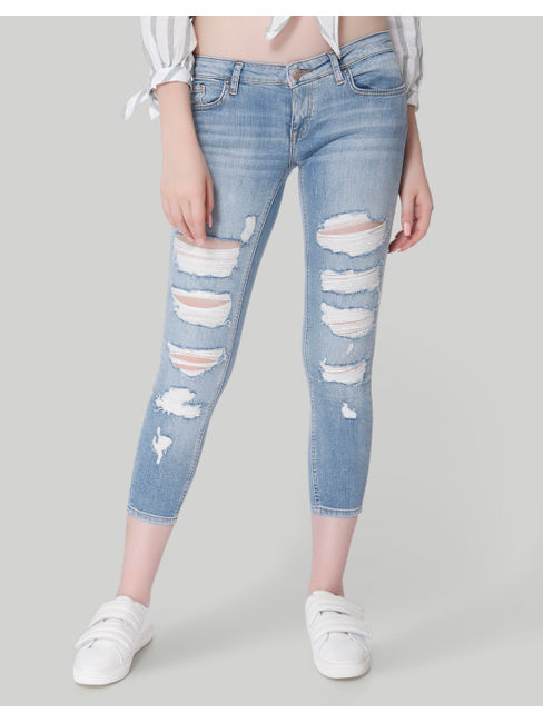 Light Blue Low Rise Skinny Fit Distressed Jeans