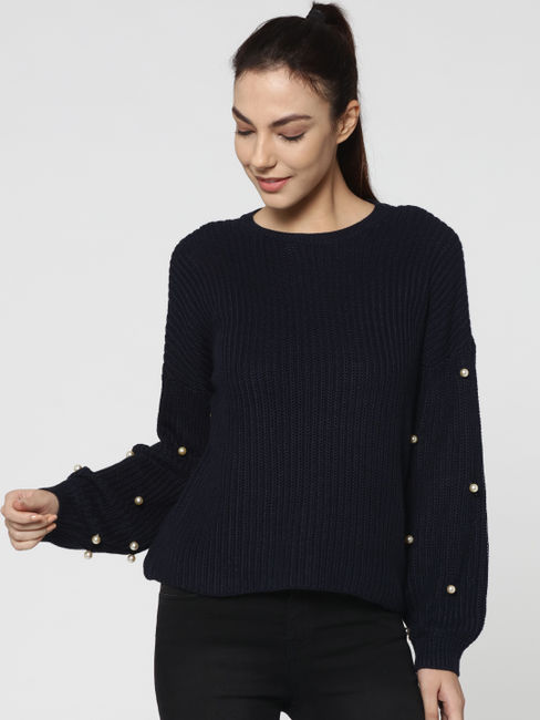 Black Pearl Studded Pullover